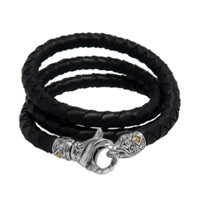 Bali Men's Woven Leather Necklace with Sterling Silver Lobster Clasp and 18K Gold Accent