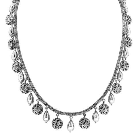 Woven Silver Neckalce with Round Scroll Work and Smooth Pear Shaped Beads