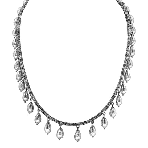Woven Sterling Silver Necklace with Pear Shaped Silver Beads