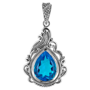 Paraiba Blue Quartz Pear Shaped Scrollwork Pendant