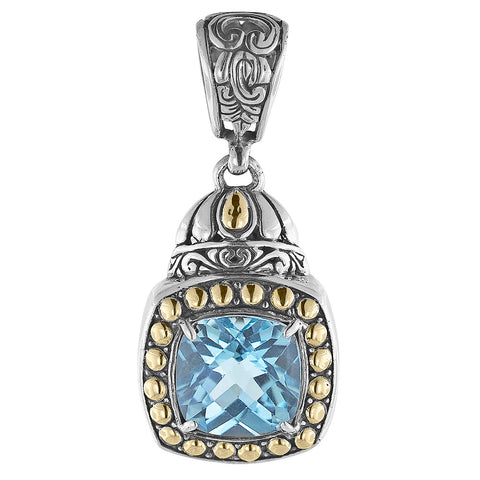 Sky Blue Topaz Cushion Cut Pendant