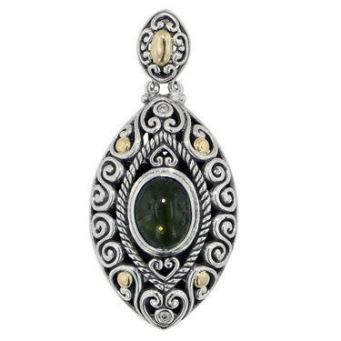 Scrollwork Deep Green Tourmaline and Diamond Necklace