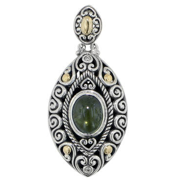 Scrollwork Forest Green Tourmaline and Diamond Necklace