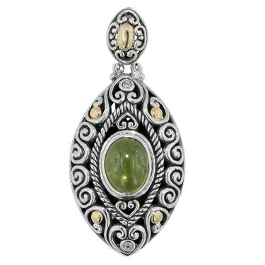 Scrollwork Lime Green Tourmaline and Diamond Necklace