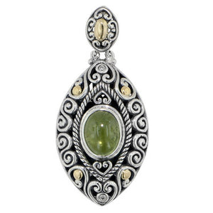 Scrollwork Lime Green Tourmaline and Diamond Silver Gold  Necklace