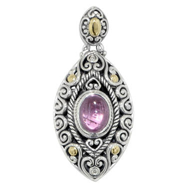 Scrollwork Baby Pink Tourmaline and Diamond Necklace