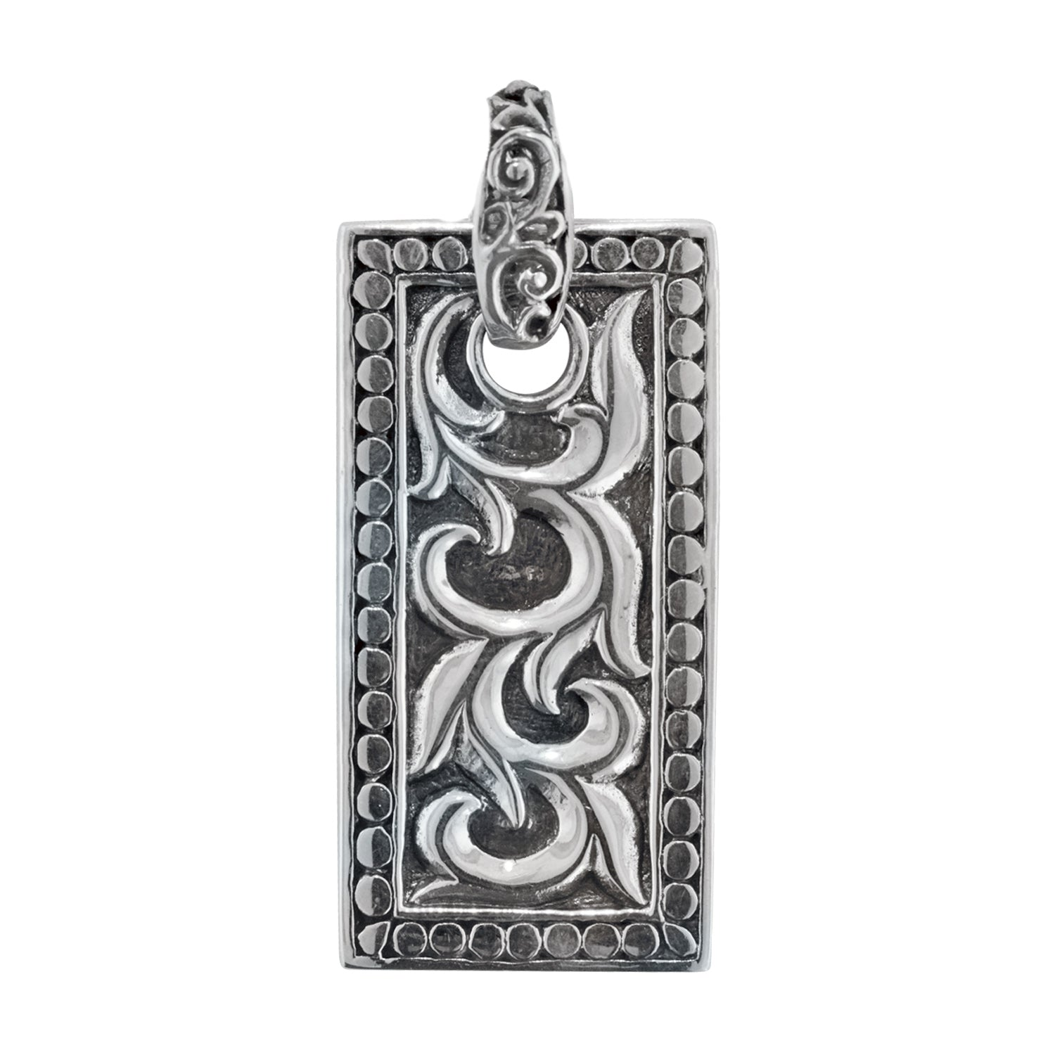 Men's Sterling Silver Balinese Scroll Dog Tag Pendant