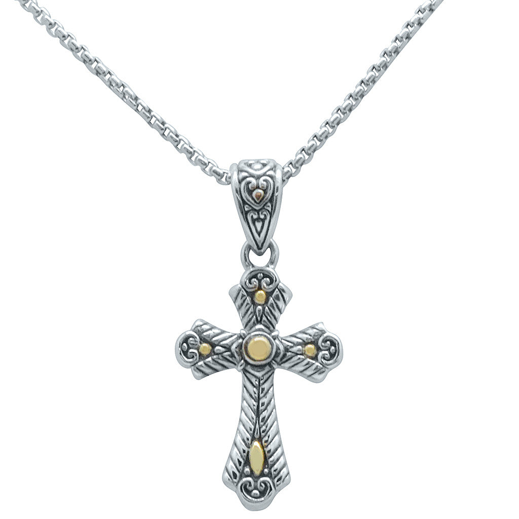 Dainty Silver and Gold Cross on Chain