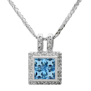 Swiss Blue Topaz Geometric Gemstones Pendant