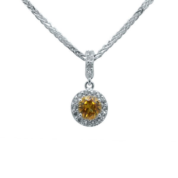 "Citrine Yellow Silver Pendant on 18"" Chain"