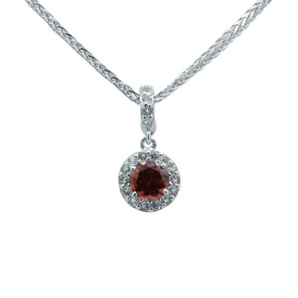 "Garnet Dark Red Silver Pendant on 18"" Chain"