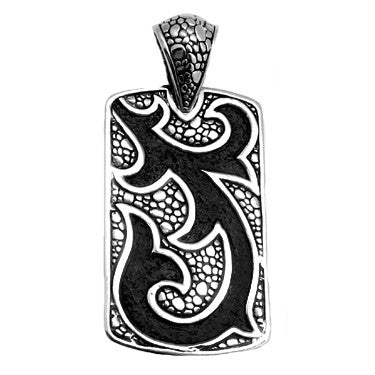 Men's Sterling Silver Snake Skin Black Filigree Dog Tag Pendant