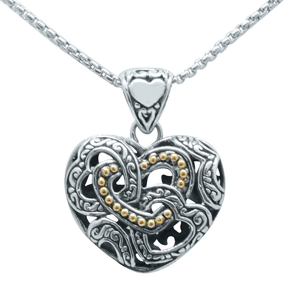 Reversible Open Heart Filigree Pendant on Chain