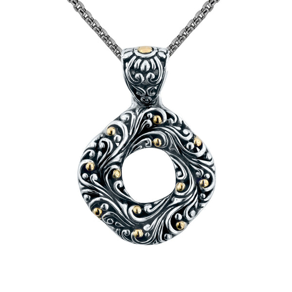 Swirling Scrollwork Wreath Pendant on Chain