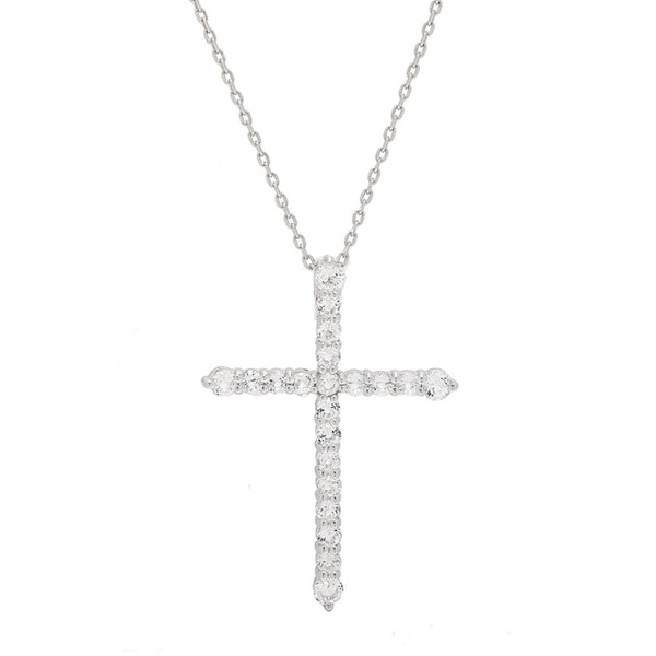 White Topaz Gemstone Cross Necklace