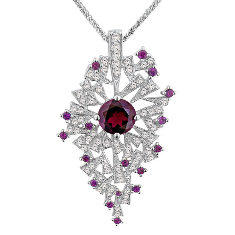 Rhodolite Pendant with White Zircon Accents