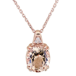 Morganite 14K Rose Gold Pendant with Diamond Accents