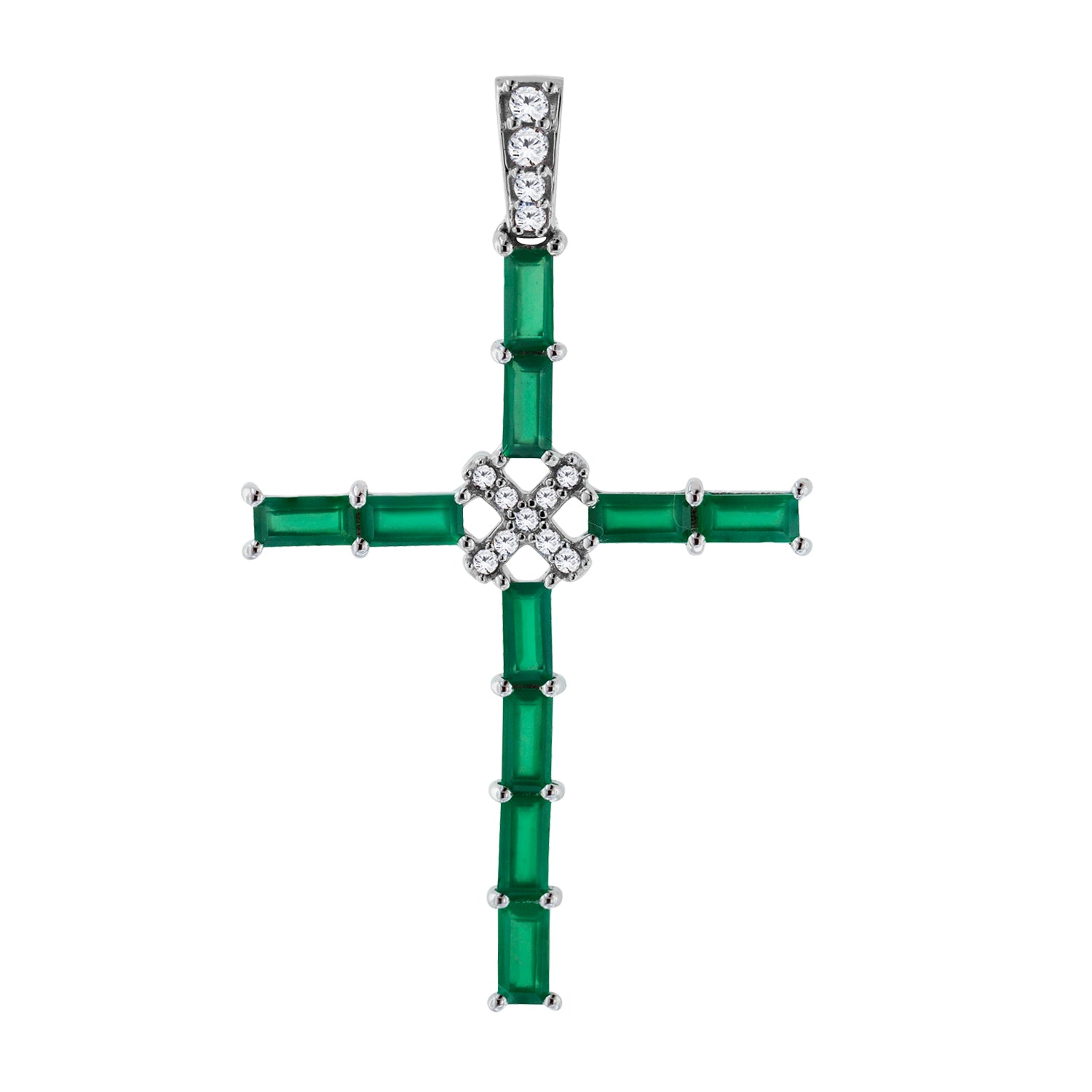 Green Chalcedony Gemstone Cross Pendant