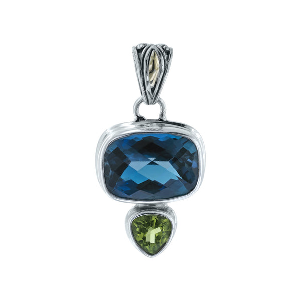 Twilight Sky London Blue Topaz and Peridot Pendant