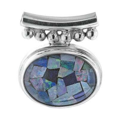 Mosaic Opal Slide Pendant on Chain