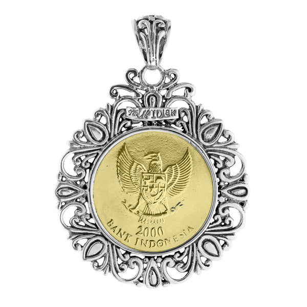 Balinese 500 Rupiah Coin Sterling Silver and 18K Gold Double Sided Pendant