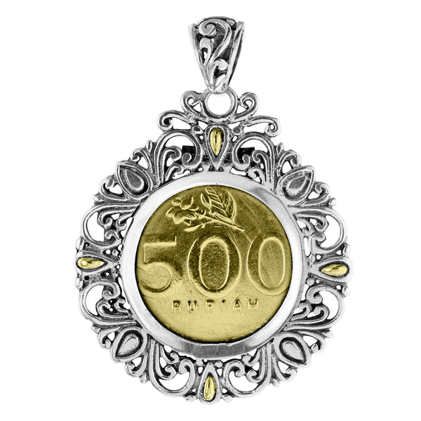Balinese Sterling Silver Coin Pendant 18K Gold