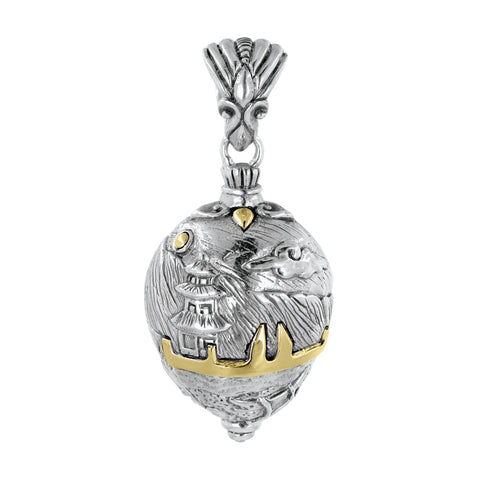 Bali Sterling Silver Ulun Danu Temple Amulet Pendant with 18K Gold Accents