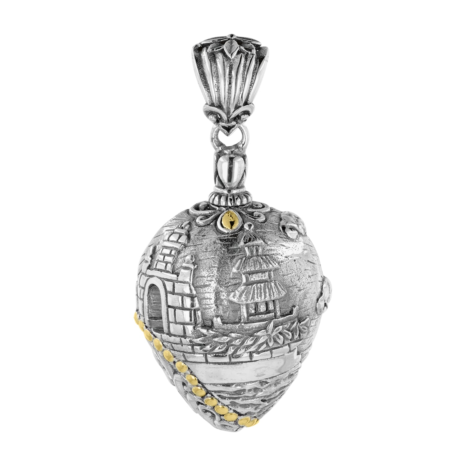 Bali Sterling Silver Uluwatu Temple Amulet Pendant with 18K Gold Accents