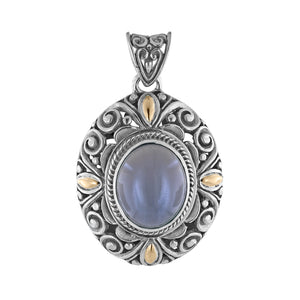 Sterling Silver Grey Moonstone Pendant with Balinese Scroll and 18K Gold Accents