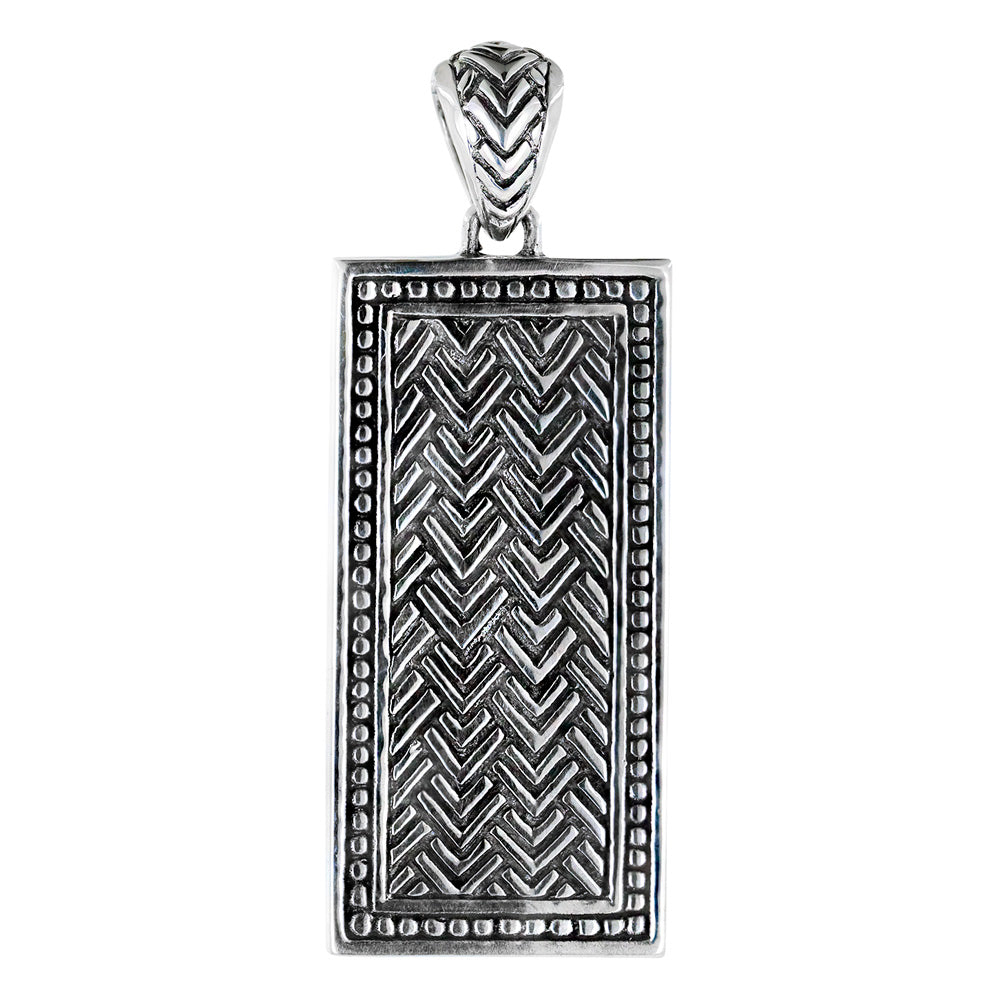 Chevron Pattern Dog Tag Pendant Sterling Silver