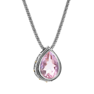Pear shaped pink gemstone sterling silver pendant with 18K gold accents