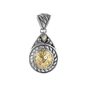 Sterling silver pendant with hammered 18K gold