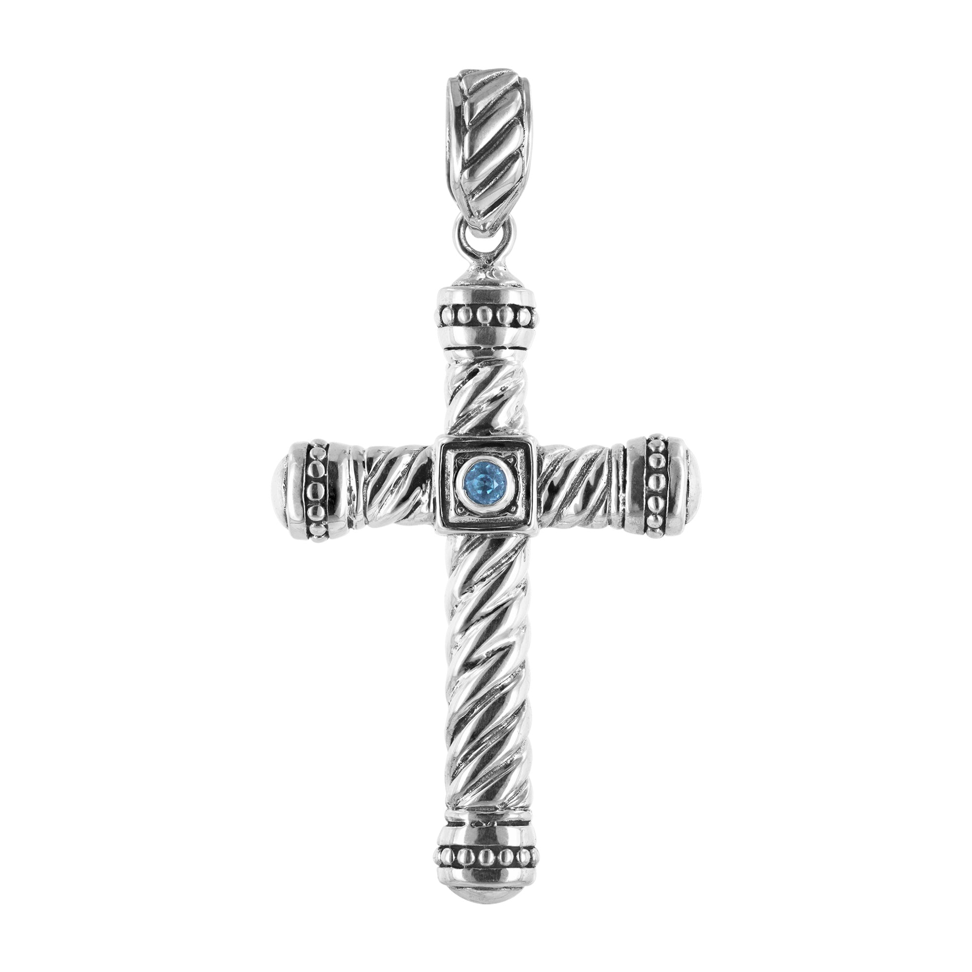 Men's Sterling Silver Cross with Cable Design and Swiss Blue Topaz Accent