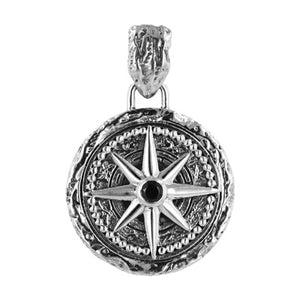 Compass Pendant with Black Spinel