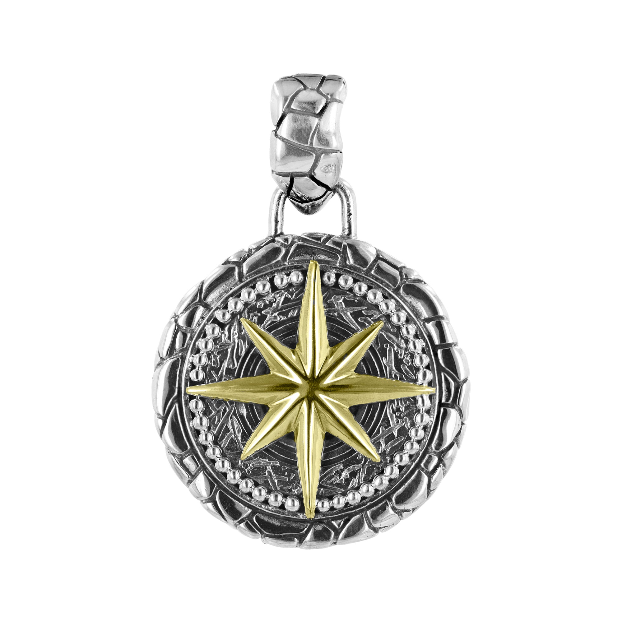 Men's Sterling Silver and Brass Compass Pendant