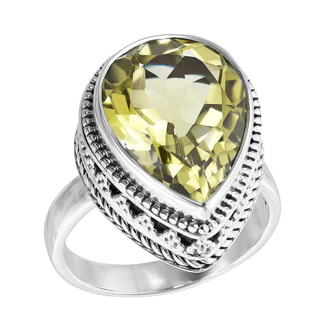 Sterling Silver Yellow Stone Scroll Work Ring