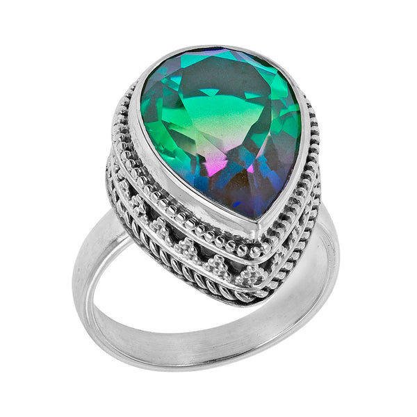 Sterling Silver Green Pink Blue Stone Scroll Work Ring
