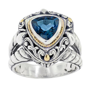 Sterling Silver Trillion Cut London Blue Topaz Ring with Balinese Scroll Work and 18K Gold Accents