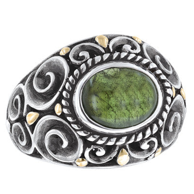 Green Tourmaline Scrollwork Ring