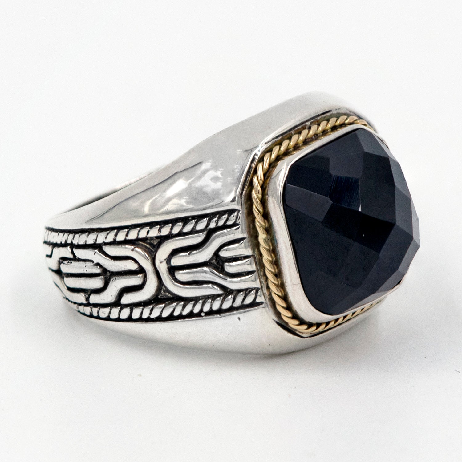 Bali Sterling Silver Men's Black Onyx Link Shank Ring with 18K Gold Accents
