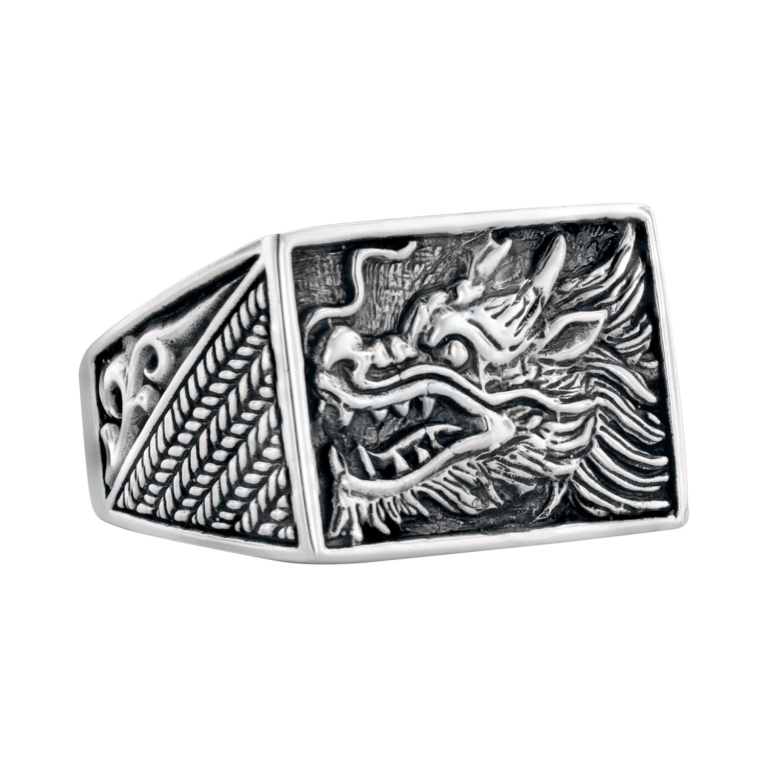 Men's Sterling Silver Hand Carved Dragron Ring