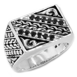 Bali Men's Sterling Silver Black Spinel Link and Scroll Design Signet Style Ring