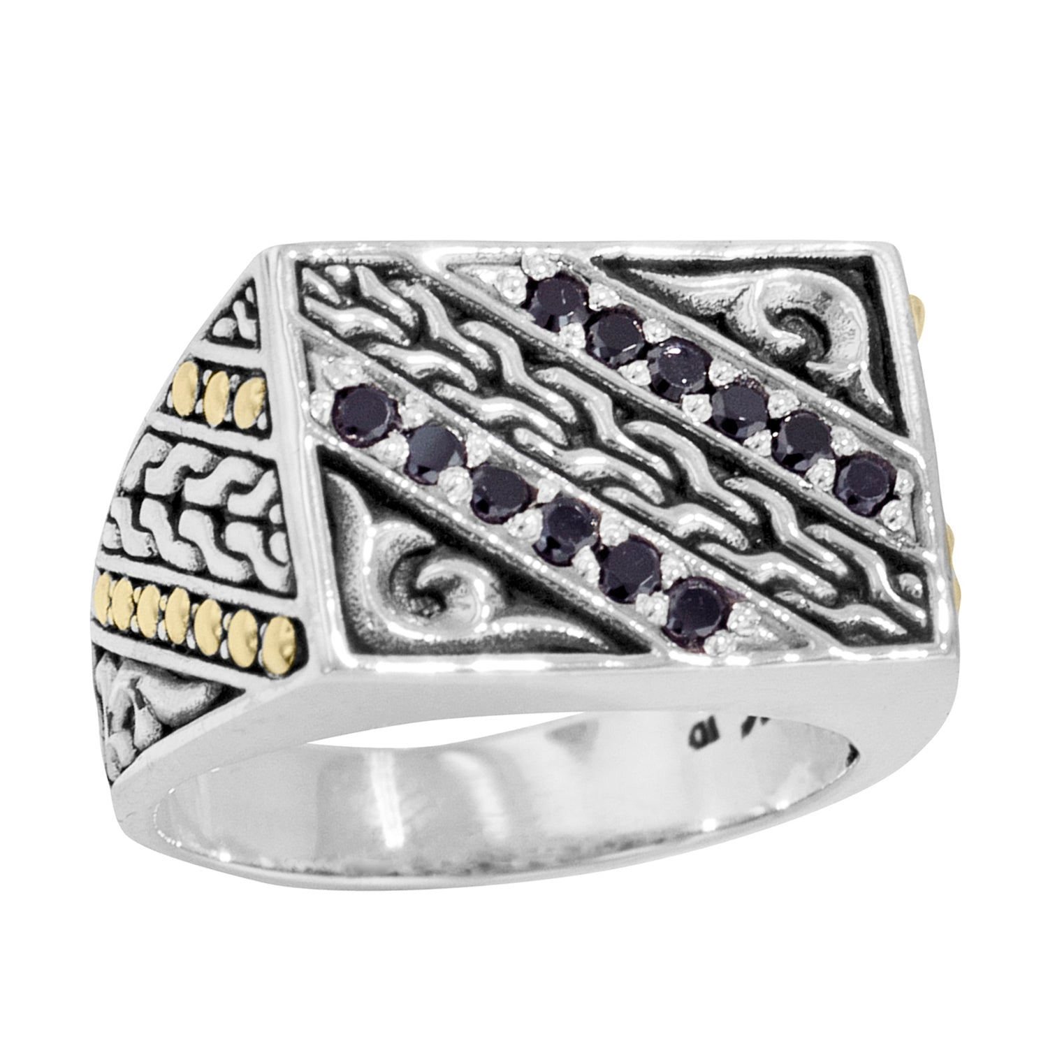 Men's Sterling Silver Black Zircon Ring with 18K Gold Accents
