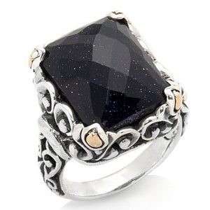 Blue Goldstone Scrollwork Ring