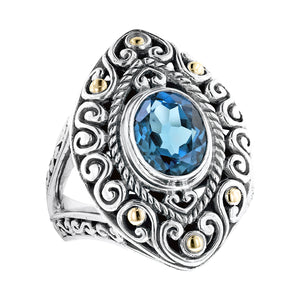 Sterling Silver London Blue Topaz Balinese Scrollwork Ring with 18K Gold Accents