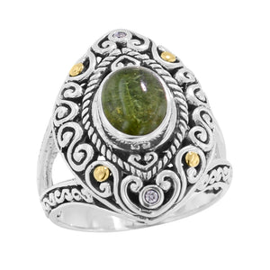 Scrollwork Lime Green Tourmaline and Diamond Silver Gold Ring