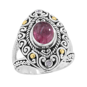 Scrollwork  Pink Tourmaline and Diamond Silver Gold Ring