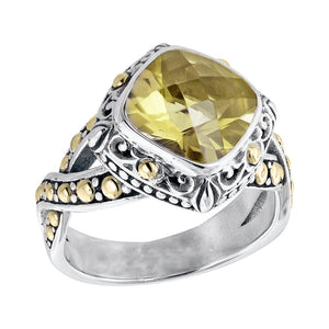 Sterling Silver Lemon Quartz Balinese Scrollwork Ring with 18K Gold Accents