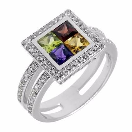 Square Multi Gemstone Ring