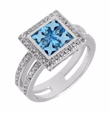 Square Swiss White and Blue Topaz Silver Ring